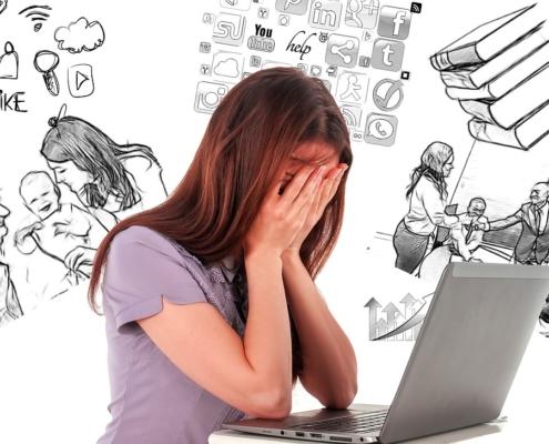 Multitasking woman suffering from ex-pat burnout
